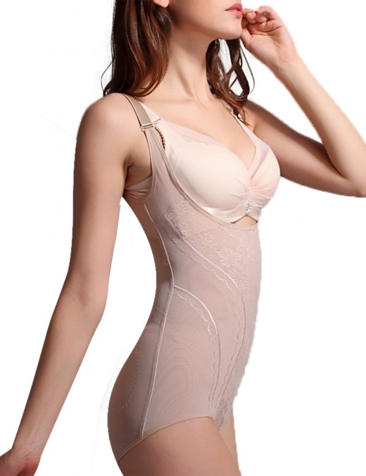 Well-Suited Nude Open Bust Plus Bodysuit Cheap Hip Enhancer