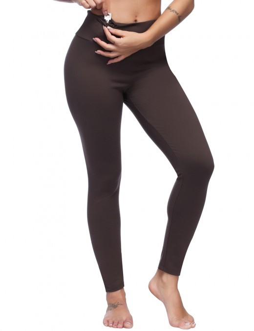Elastic Brown High Waist Brushed Leggings With Pocket For Girl