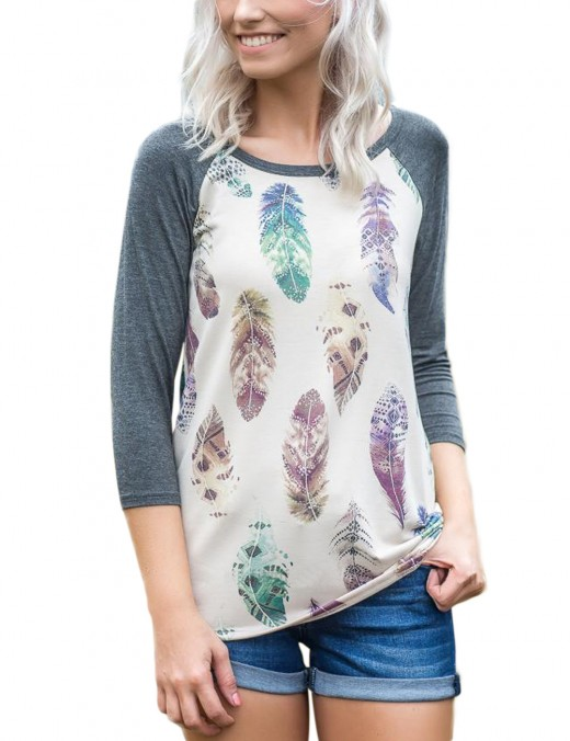 Cozy Grey Floral Print Long Sleeves Shirts Round Neck Women's Tops