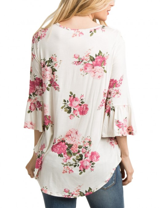 Supper Fashion White Floral Print 3/4 Horn Sleeve Womens Blouses