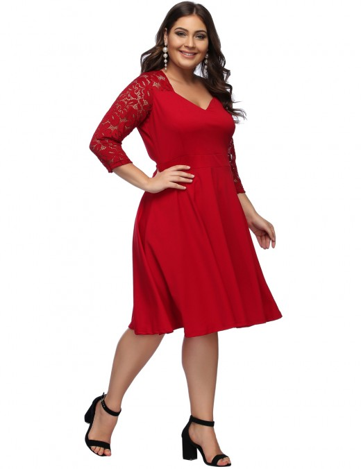 Inviting Red Zip Back Large Floral Midi Dress Breathable