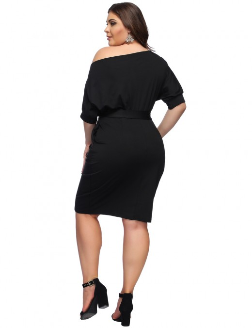 Black Large Bodycon Bat Sleeve Dress Slope Shoulder Lady Dress