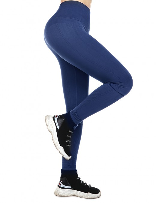 Navy Blue Empire Waist Yoga Legging Lift Hips Athletic Outfit