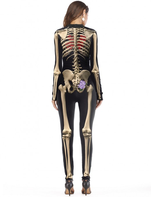 Luscious Cream Skeleton Bones Pattern Halloween Cosplay Costume Female Elegance