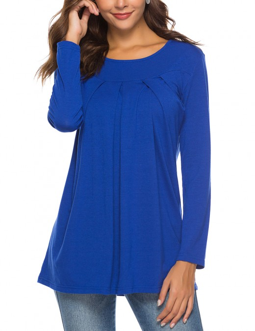 Simply Chic Dark Blue Long Sleeve Pleated Shirt Round Neck Street Style