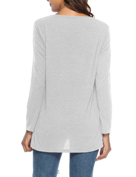 Faddish Grey Pleated Solid Color Shirts Scoop Neck Super Sexy