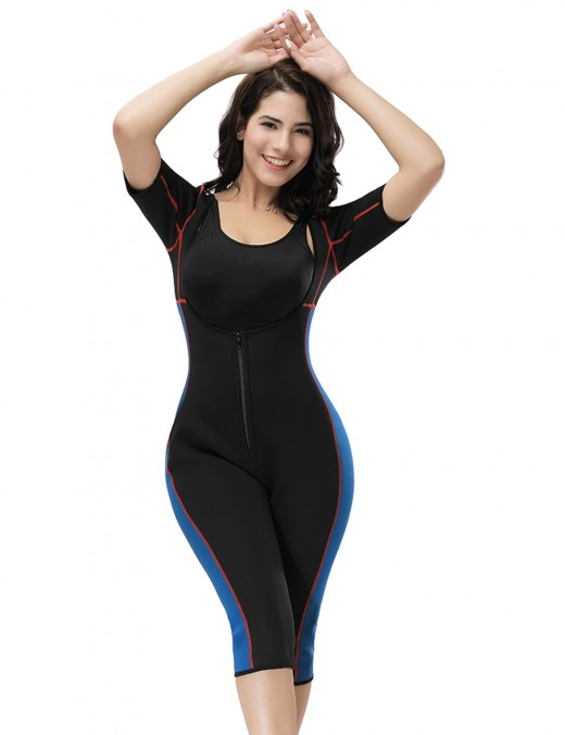 Durable Blue Large Neoprene Bodysuit Stitching Zip Front Ultra Light