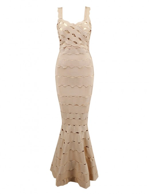 Cream Backless Strap Evening Dress Hollow Out All-Match Style