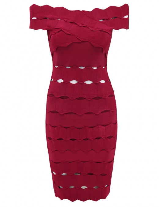 Intriguing Wind Red Jacquard Hollow Out Bandage Dress Off Shoulder