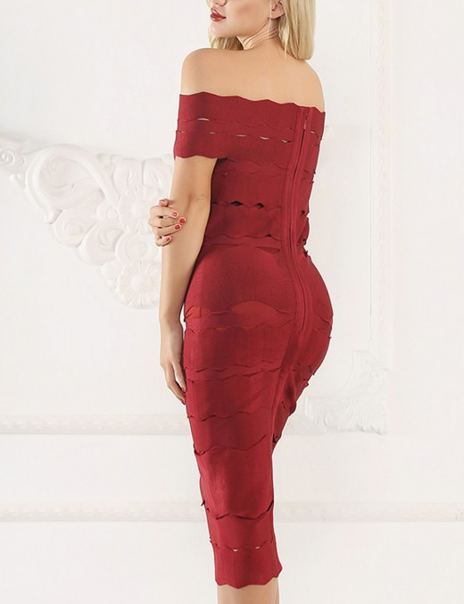 Wine Red Backless Bandage Zipper Back Dresses Nice Quality