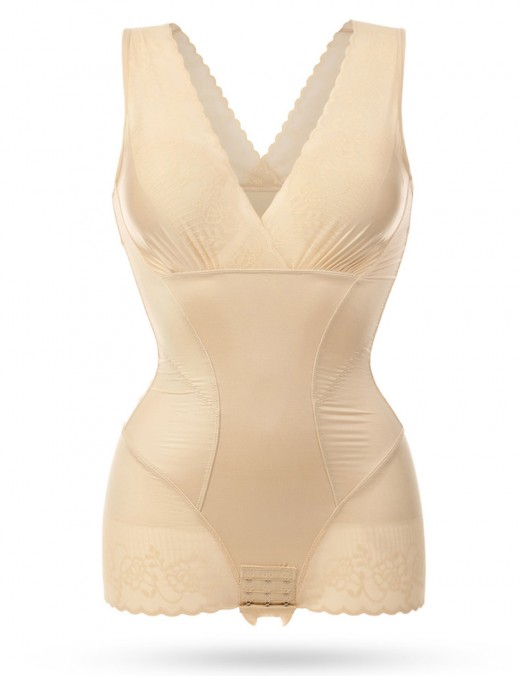 Favorite Nude Plus Lace Trim Superior Quality Bodysuit Push Up