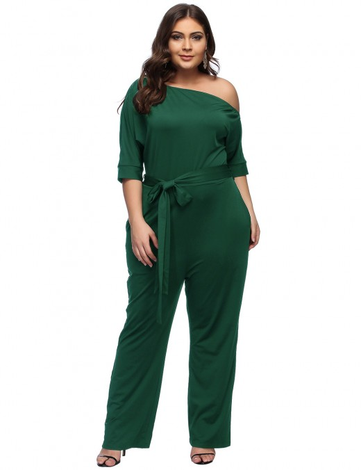 Flowing Blackish Green Waist Belt Pocket Sheath Queen Size Jumpsuit