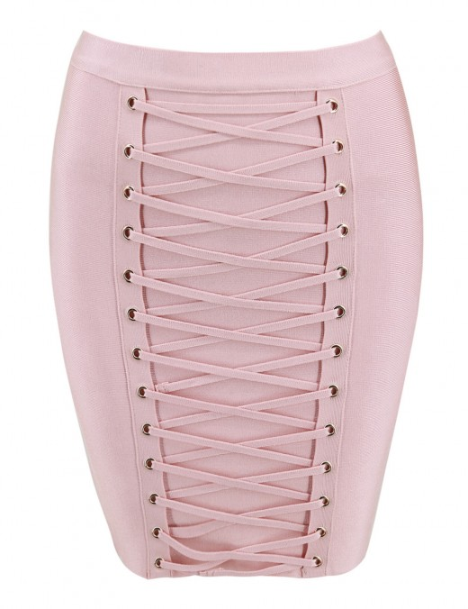 Exquisite Beige Criss Cross Mini Skirt Zipper Romance