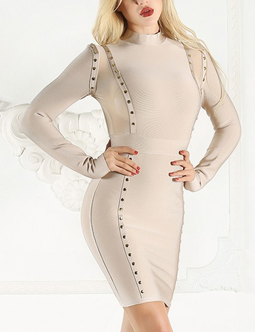 Sweety Beige Perspective Patchwork Tight Dress Long Sleeves Fast Shipping