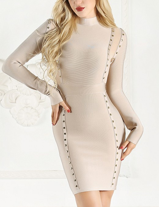 Sweety Beige Perspective Patchwork Bandage Dress Long Sleeves