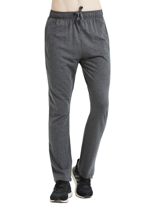 Compression Dark Gray Two Side Pocket Straight Leg Pants For Men Drawstring