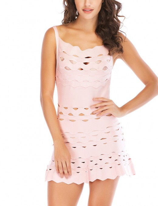 Beige Backless Cut Out Mini Bandage Dress Fitted Comfort Fashion