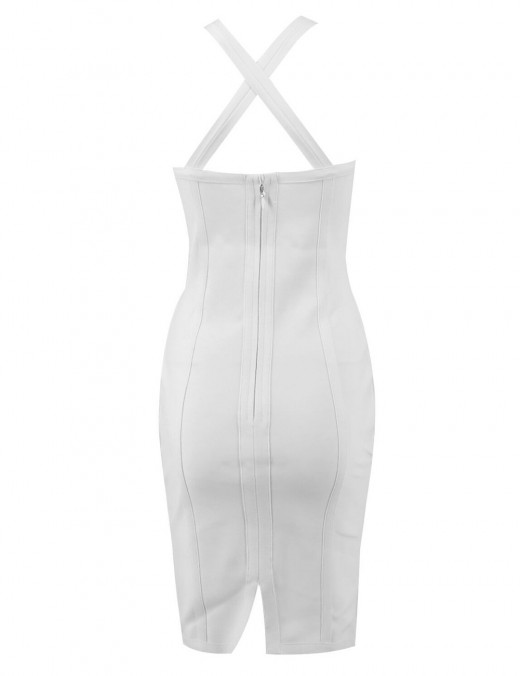 White Back Zip Sleeveless Mesh Bodycon Dress Contouring Sexy Fashion