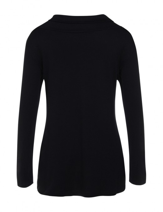 Black Asymmetry Ruffled Collar Tops Long Sleeve Sophisticated