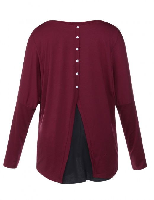 Long Sleeved Split Shirts Round Neck Slim Fit Faddish Wine Red