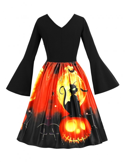 Striking Queen Size Halloween Flare Dresses V Neck Online Wholesale