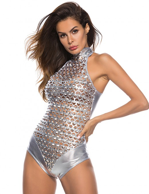 Demure Silver Punching PU Bodysuit Lingerie Sleeveless Fashion Online For Female
