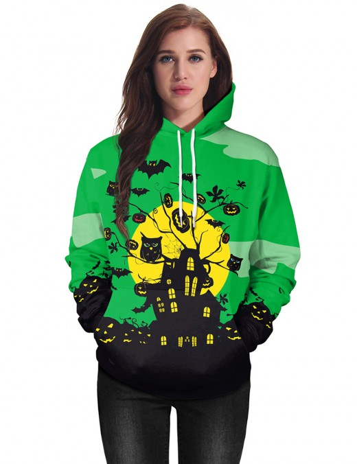 Unvarnished Halloween Tree House Printed Hooded Tops Fashion Style