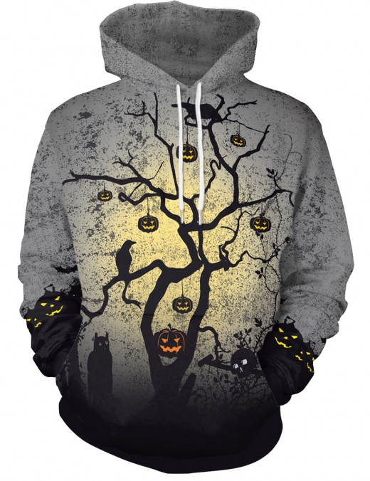 Halloween Midnight Pumpkin Tree Print Hoodies Weekend Fashion