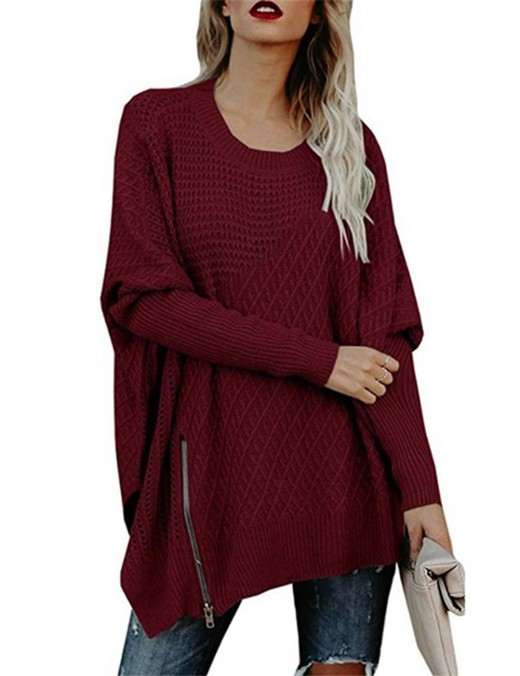 wine red crew neck split oversized sweater asymmetry
