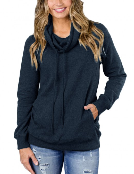 Maiden Blackish Green High Neck Pullovers Pocket Sweatshirt Ladies