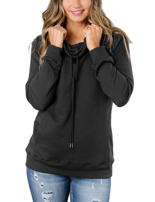Dark Grey Long Sleeved High Neck Pullovers Tops Casual Fashion
