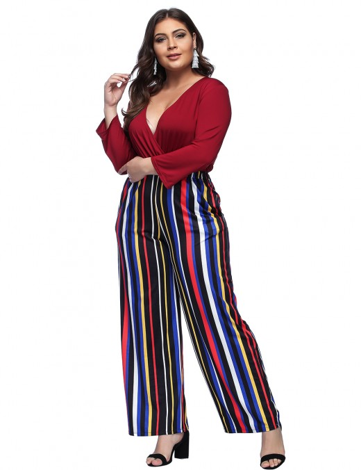 Showy Wine Red Queen Size Stripes Jumpsuit Wide Legs Fashion Trend