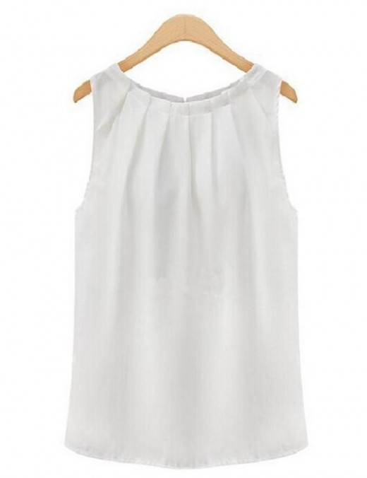 Simply Chic White No Sleeve Round Neck Pleated Tank Top Street Style