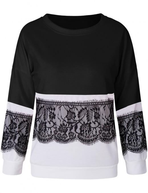 Sleek Black Stitching Lace Sweatshirt Round Neckline Wholesale Online
