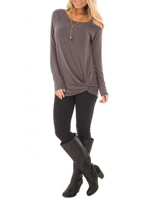 Captivating Brown Front Twist Sweatshirts Long-Sleeved Preventing Sweat