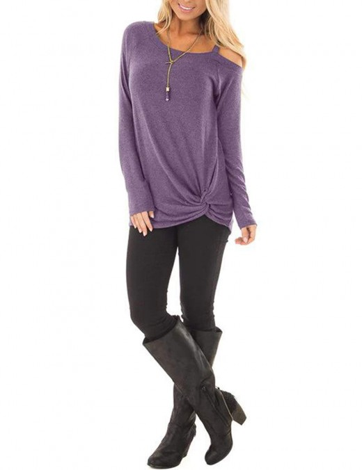 Cheeky Purple Asymmetrical Hem Cold Shoulder Shirts Ladies
