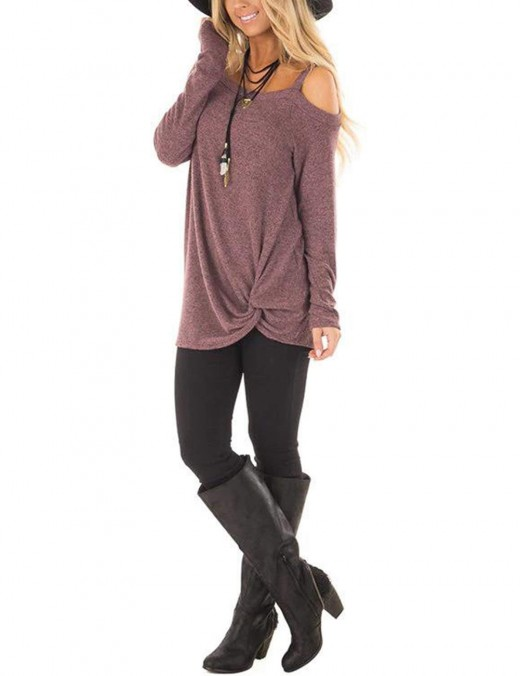 Dainty Dark Purple One Strap Sweatshirts Asymmetrical Hem Feminine Grace