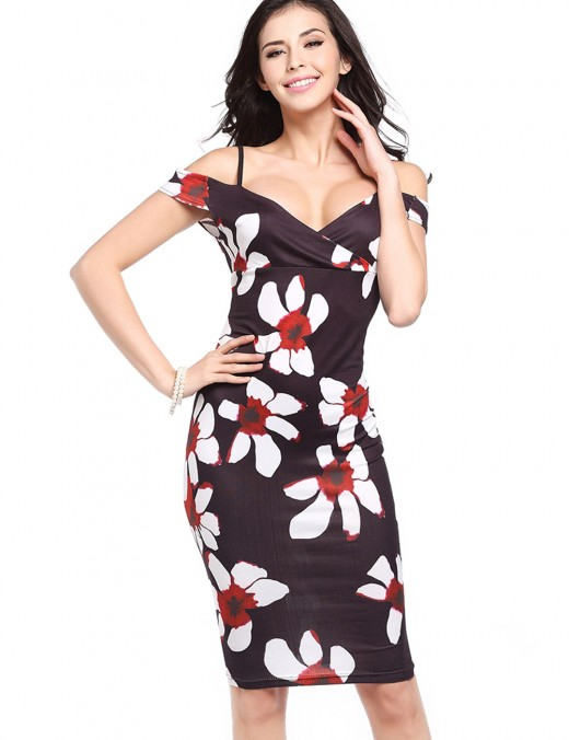 Effective Off The Shoulder Tight Floral Dress Sale Online