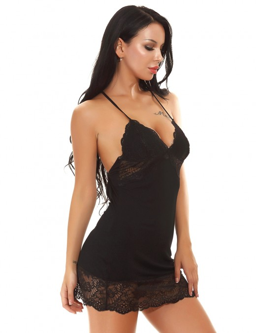 Enjoy Black Crisscross Back Chemises Lace Patchwork Maximum Comfort