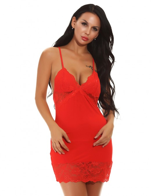 Eye-Catching Red Lace Stitching Cami Straps Crossover Chemise For Woman