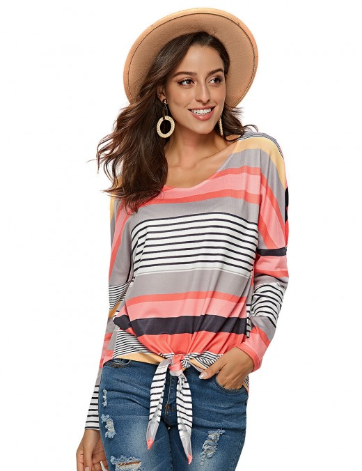 Knotted Front Striped Blouses Bat Sleeves Understated Design