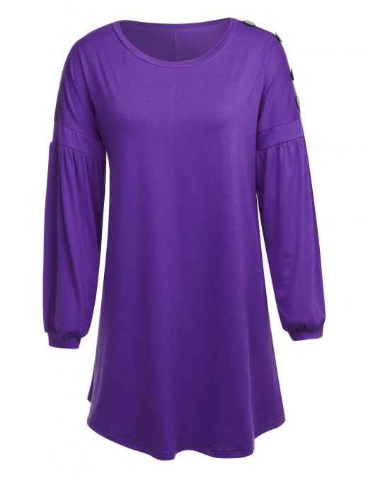 Women Purple Left Sleeve Buttons Dress Ruched Plain Natural Outfit