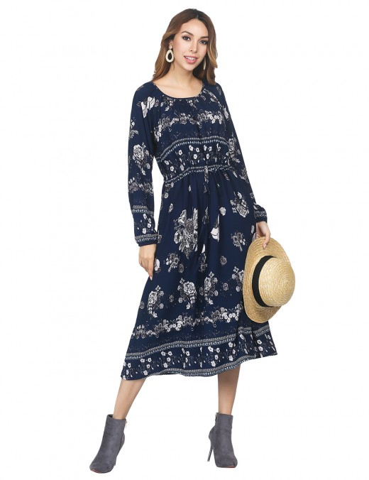 Vintage Navy Blue Round Neck Floral Printed Dress Drawstring Weekend Time