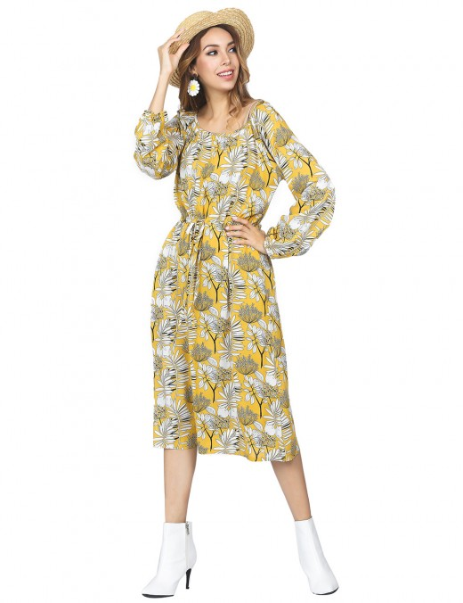 Retro Yellow Bell Sleeved Long Dress Flower Pattern Versatile Item