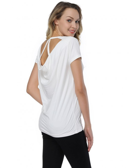 Romans Ruched White Cut Out Back Shirt Bamboo Fiber Home Clothes