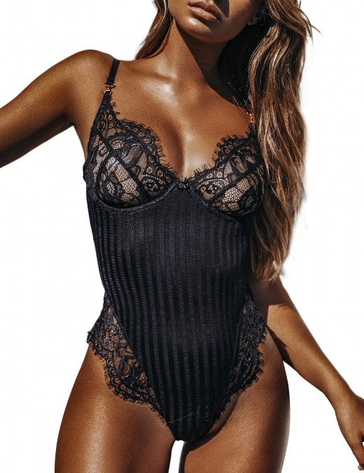 Black Eyelash Lace Teddy High Cut Leg Plunging Neck Stripe Panel