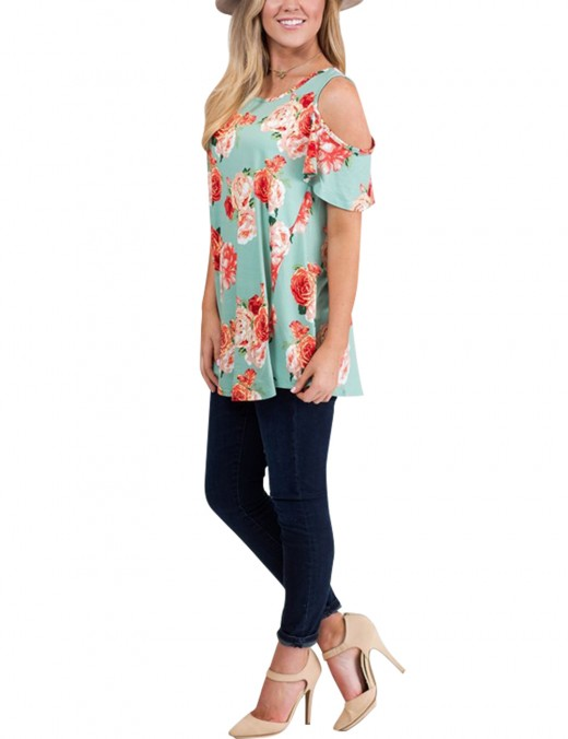 Stunning Green Floral Printing Shirts Womens Clothing Cold  Shoulder