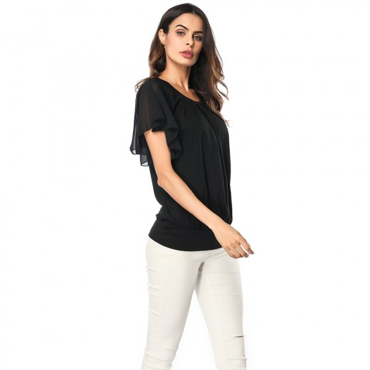 Black Pleated Short Sleeved Blouse Round Collar Super Sexy