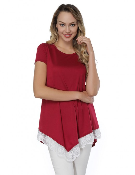 Wine Red Asymmetric Floral Lace Hem Top Cheap Fashion Style