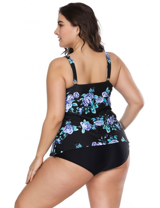 Vogue Printing Large Size Black Knotted Tankini For Cutie